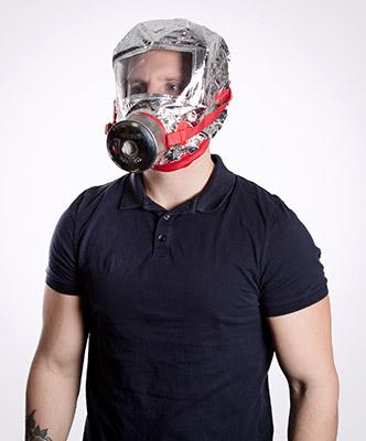 Person wearing a smoke hood